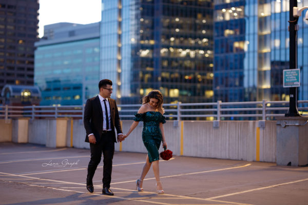 engagement photography in calgary Downton in the night